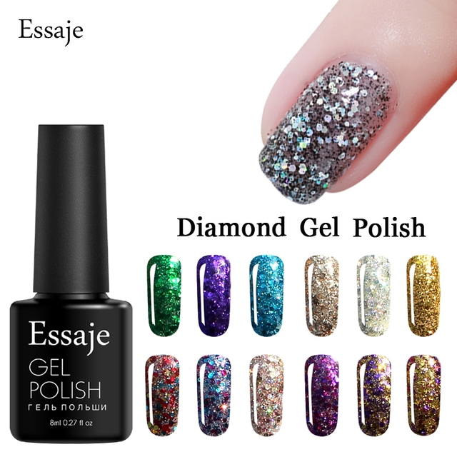 Essaje Hot 20 Colors Diamond UV Nail Gel Polish Gorgeous Glitter ...