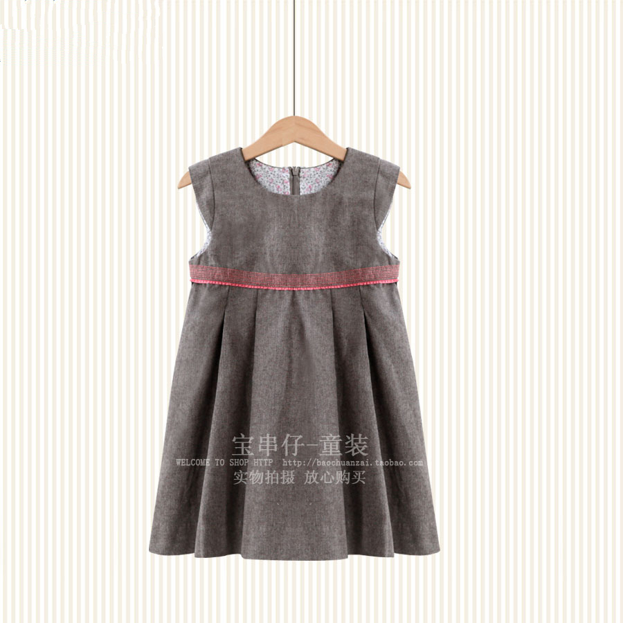 European and American Style British Style Qiu Dong Temperament Thick Brown of the Girls Pure Original Cotton Yarn Girl's Dress dong qu manufacturing and managing customer driven derivatives