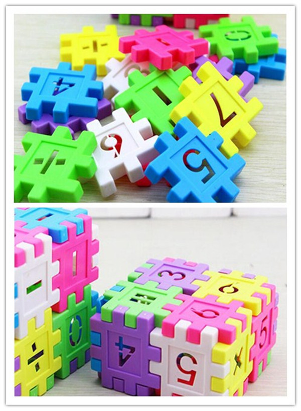 16 st / pack Kid's Plastic Digital Building Blocks Educational Building Blocks Kit uppsättningar för kreativitets stationära leksaker