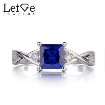 Leige Jewelry Princess Cut Sapphire Engagement Rings for Women Sterling Silver 925 Fine Jewelry Blue Gemstone Promise Ring