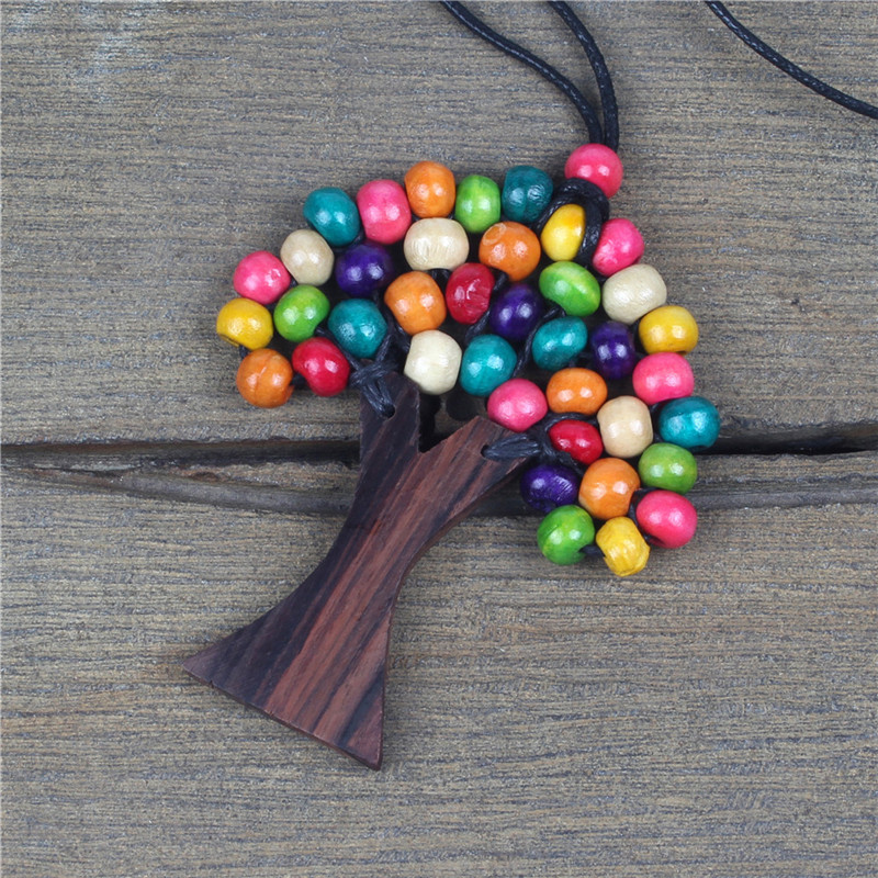 Bohemian Rainbow Tree of Life Necklace for Women Men Handmade Wooden Beads Wax Rope Long Necklace & Pendant Ethnic Jewelry Gift