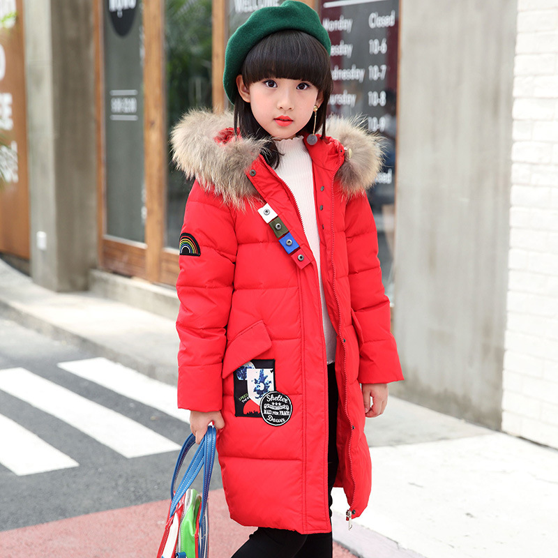 Fashion Girls Winter White Duck Down Jackets and Coats Children Faux Fur Hooded Long Coat Kids Girl Thick Warm Jacket 2017 2016 winter jacket girls down coat child down jackets girl duck down long flower hooded loose coats children outwear overcaot