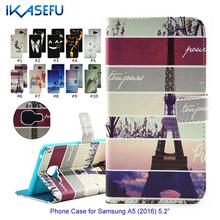 IKASEFU  Cartoon Painting PU Leather Phone Case for Samsung A5 2016 Phone Cover Wallet Flip Cover Magnet Closure Card Holder
