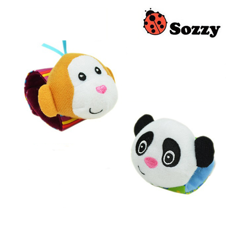 Sozzy-2pcs-Soft-Baby-Toy-Wrist-Strap-Socks-Cute-Cartoon-Garden-Bug-Plush-Rattle-with-Ring-Bell-0M-4