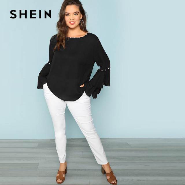 SHEIN Pearls Embellished Layered Ruffle Sleeve Plus Size Women Black Blouse 2018 Fashion Beaded Detail O-Neck Top Blouse 3