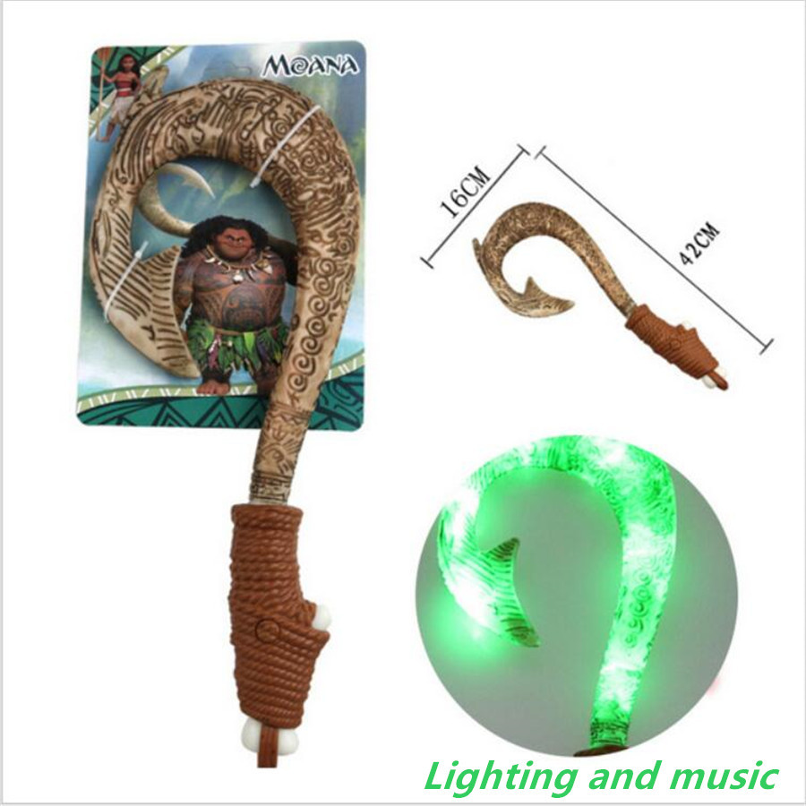 Vaiana Moana Princess Maui Fishing Magic Hook With Light 42cm Toy Action Figures Kids Brinquedo Juguetes Toys Christmas Gift gonlei moana waialiki maui heihei abs weapons light sound saber fishing action figures moana adventure abs toy lightsaber gift