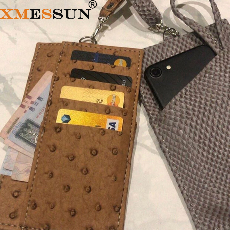 Genuine Leather Mobile Phone Card Holder Embossed Crocodile Leather Phone Wallet Python Leather Pouch With Lanyardr Phone Bag