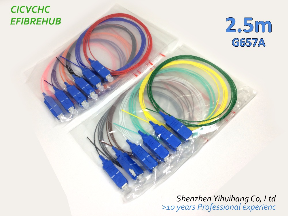 12 Colors SC/UPC-0.9mm-PVC-SM(9/125)-2.5m / Optical Fiber Pigtail