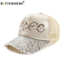 BUTTERMERE Mesh Baseball Hats For Women Beige Sequin Caps Ladies Summer Korean Casual Brand Female Adjustable Trucker Hat
