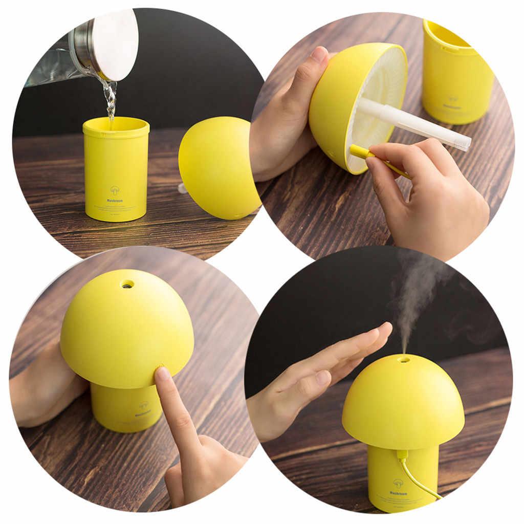 Night light Air humidifier USB Charging kids Bedroom Mushroom LED Lamp Purifier Home Office Car Steam LED Night light Home T9#
