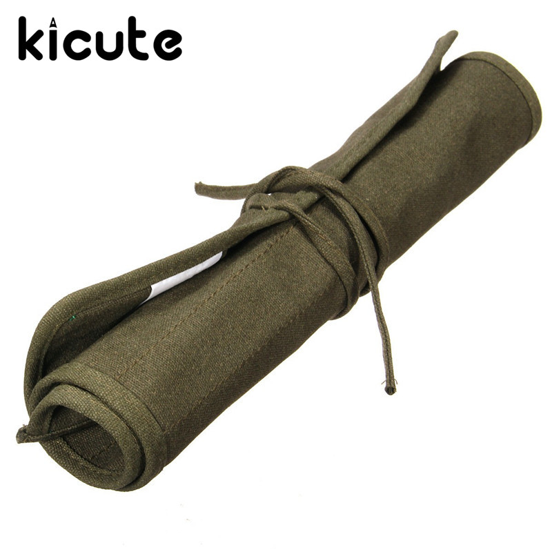 Kicute 41 x 33cm Roll Up Canvas Paint Brush Bag Cases For Artist Draw Pen Watercolor Oil Brush Army Green School Arts Supplies