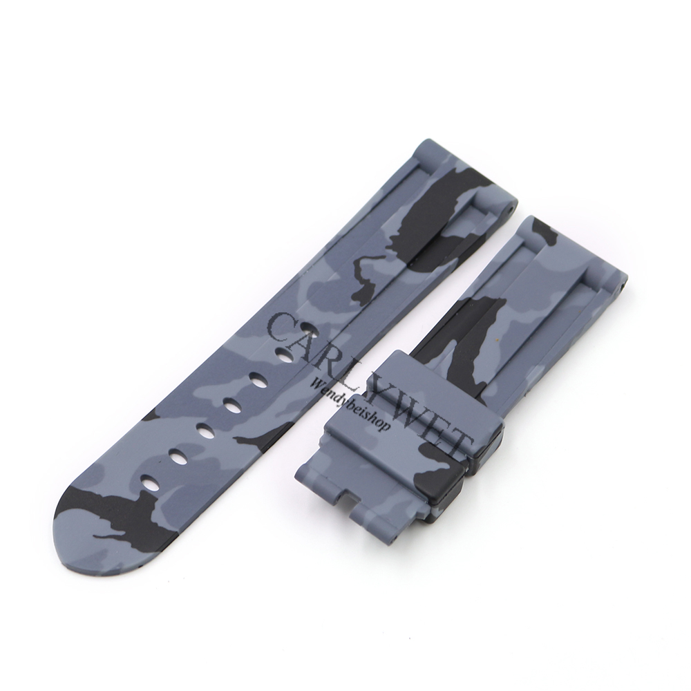 CARLYWET 24mm Hot Sell Newest Camo Grey Waterproof Silicone Rubber Replacement Wrist Watch Band Strap Belt Without buckle in Watchbands from Watches