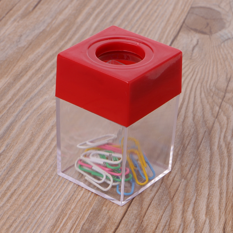 1Pc Magnetic Clip Dispenser Paper Holder Square Box Case Fashion Clips Dispenser Office And School Supplies