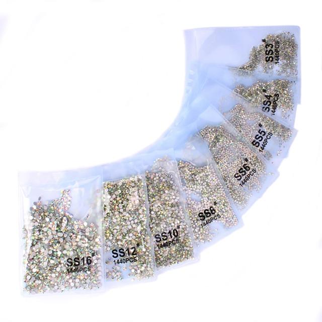 סופר גליטר 1440 pcs SS3-SS8 Flatback ססגוניות ללא תיקונים Rhinestones עבור נייל אמנות קישוט נעלי וריקודים קישוט