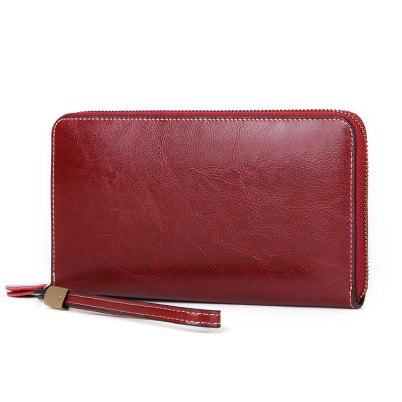 RFID Anti-theft Brush Women Wallet Genuine Leather Female Clutch Long Wallet Large Capacity Lady Purse Card Holder Phone Pocket