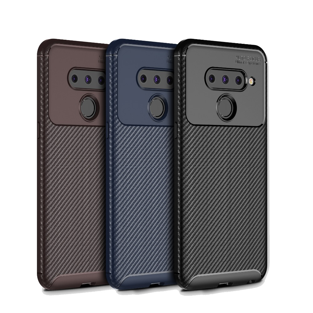 Cocose For Lg V50/v50 Thinq Case Carbon Fiber Silicone Soft Tpu Shockproof Back Cover V50 Protection Shell