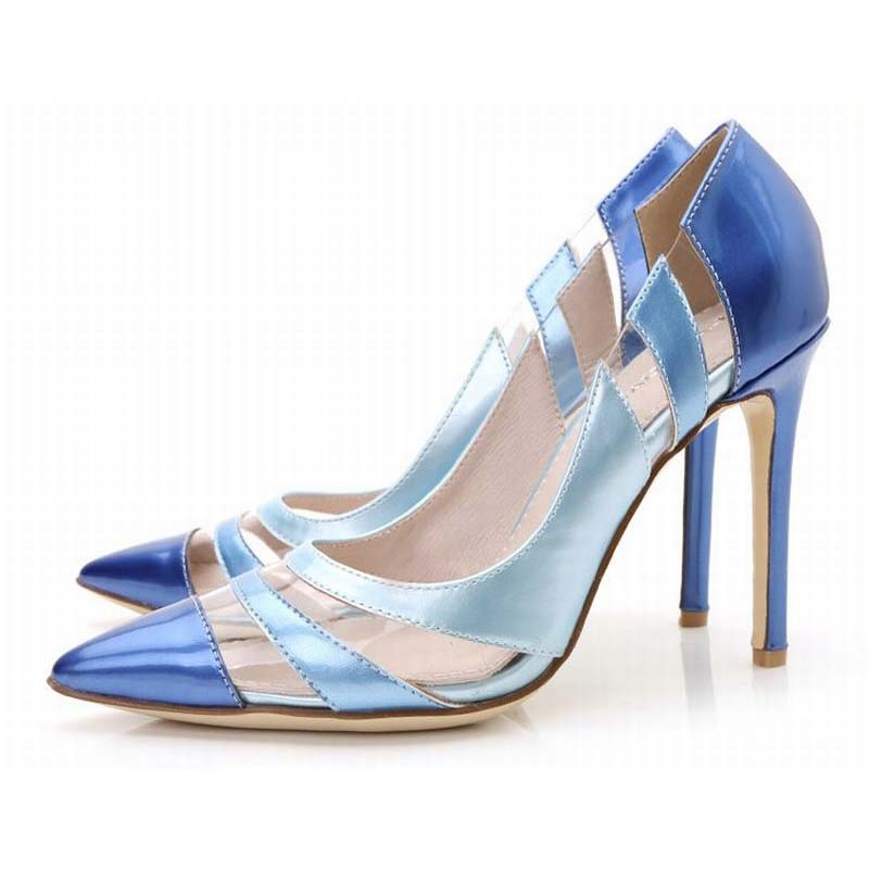 ФОТО big size 34-43 hot 2016 new fashion women transparent high heels shoes sexy pointed toe pumps patchwork lady party wedding shoes