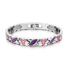 Mujeres de la manera púrpura de germanio titanium de acero de energía terapia pulsera brazalete de regalo de cumpleaños para la novia esposa tg4604