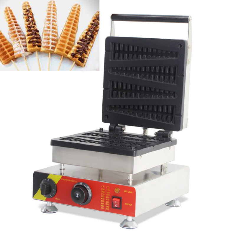220v 110v Electric stainless steel commercial home use 4pcs waffle on stick fish lolly waffle maker