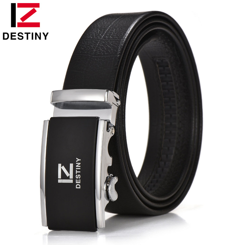 DESTINY Luxury Famous Brand Designer Belt Men High Quality Male Genuine Leather Strap Gold Silver Ceinture Homme Cinto Masculino
