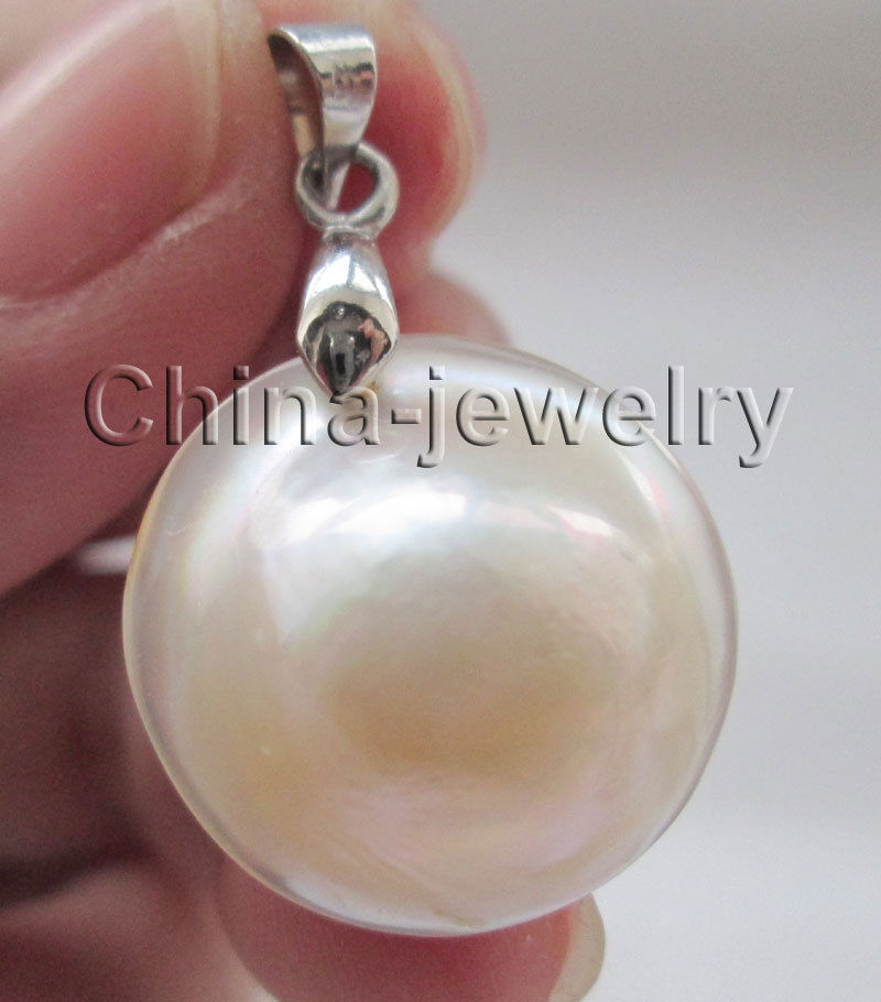 AAA 22mm natural white sea water Mabe blister pearl pendant >Dongguan girl Store free shipping