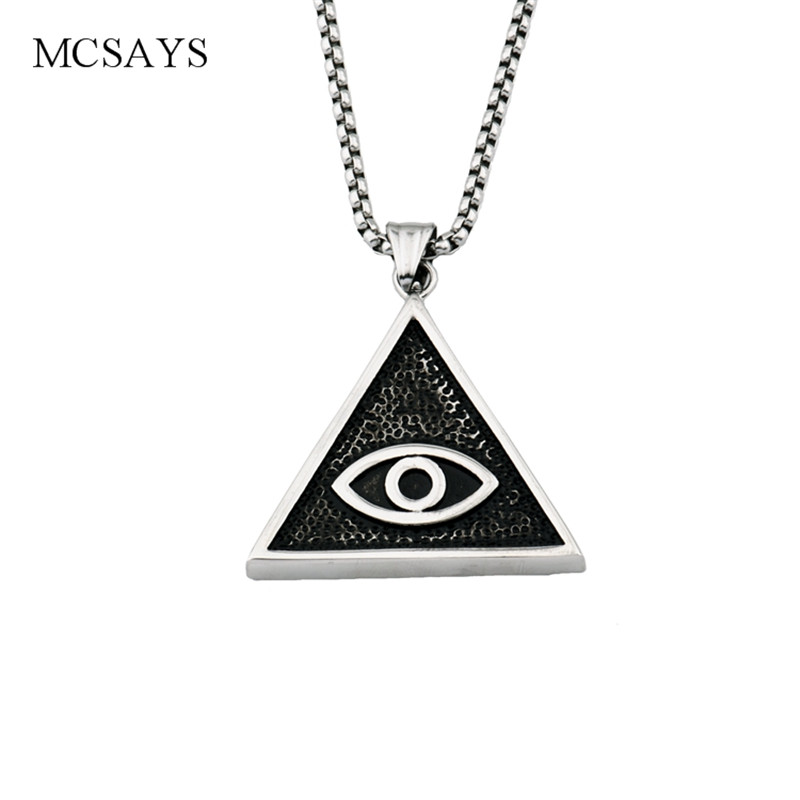 MCSAYS Stainless Steel Punk Necklace Eye of Horus Pyramid Pendant Box Chain Silver Color Necklace Mens