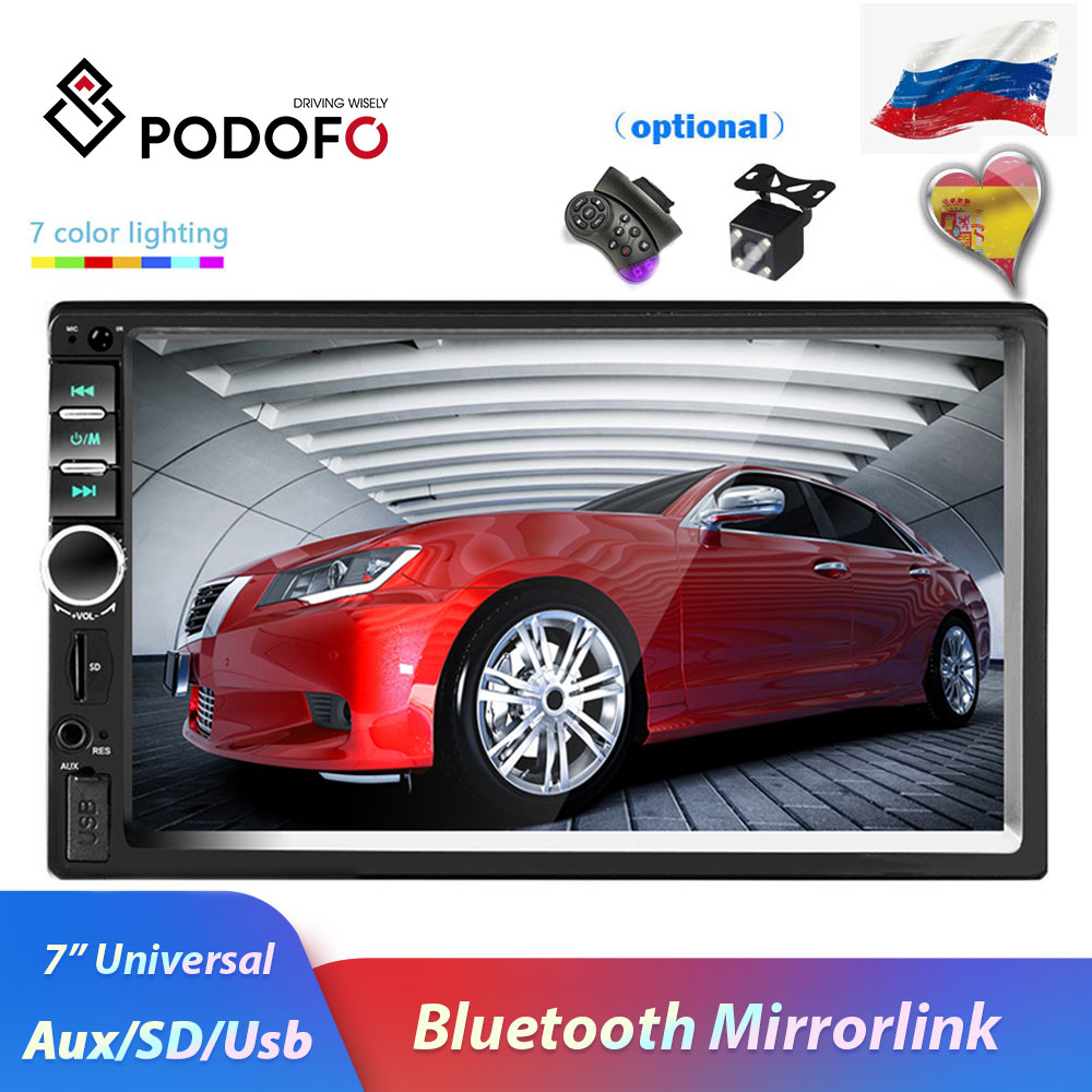 Podofo 2 din Car Radio Multimedia Player Autoradio Stereo 7 Bluetooth 2din Auto audio Video MP5 USB FM Universal Backup Camera