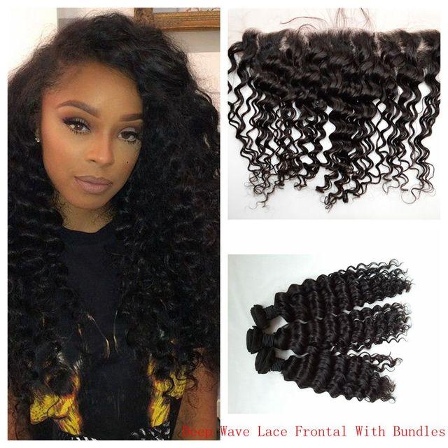 Medium Brown Lace Frontal Closure With Hair Bundles Virgin Peruvian