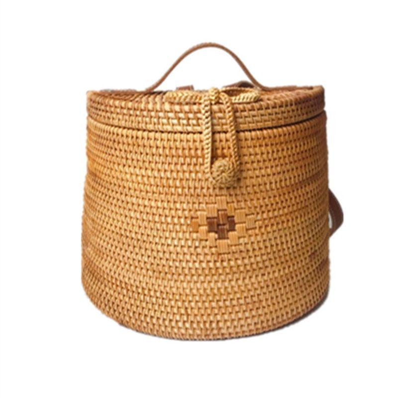 Summer Women Vietnam Hand-woven Rattan Bag Backpack Bohemian Beach Bag  Summer Women Vietnam Hand-woven Rattan Bag Backpack Bohemian Beach Bag