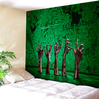 Blood Hell Hand Halloween Tapestry Green Printed Decorative Grim Tapestry 130cmx150cm 150cmx200cm Boho Wall Carpet