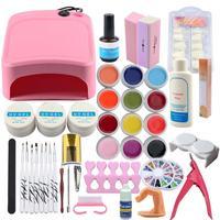 36w Lamp Dryer UV Gel Kit 12 Colors Gel Soak Off Gel Polish Kit Manicure Set Nail Glitter Powder UV Gel French Tip Manicure Tool