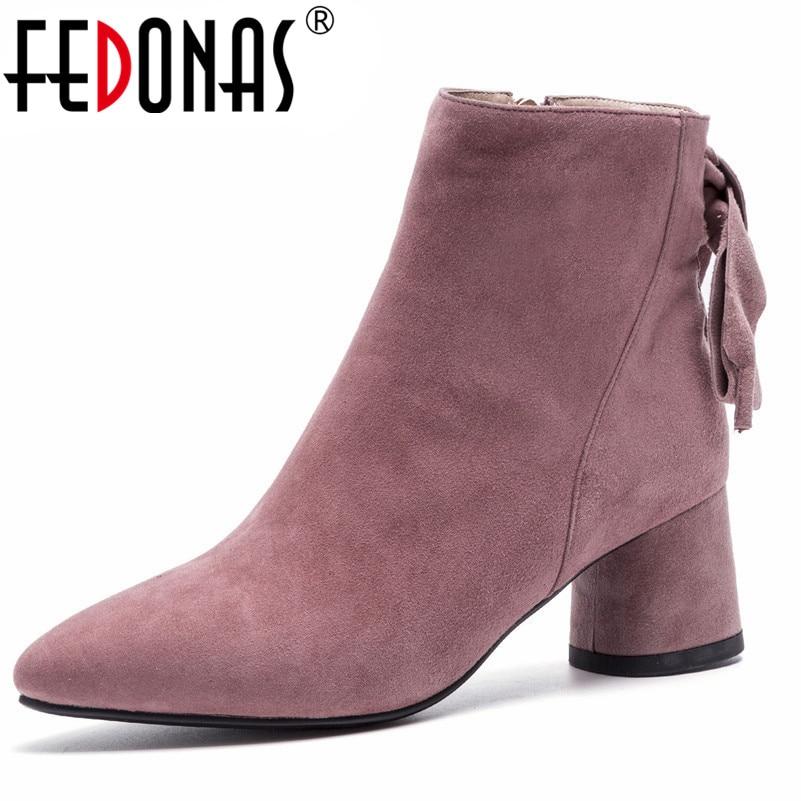 FEDONAS marca mujer tacones cuadrados Mujer Zapatos Mujer cuero genuino Otoño Invierno corto botas básicas señoras nuevas botas de tobillo-in Botas hasta el tobillo from zapatos    1