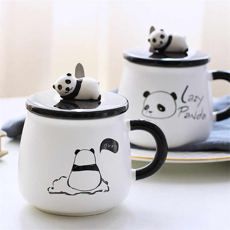 Taza de leche de personalidad de cerámica Linda taza de Panda con tapa cuchara de oficina tazas de café vaso creativo desayuno niños tazas de dibujos animados