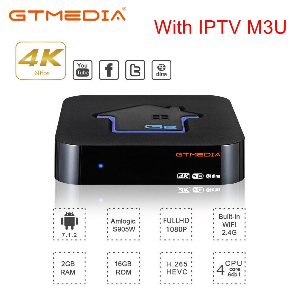 GTmedia G2 TV BOX Android 7.1 Smart TV Box 2GB 16GB Amlogic S905W Quad Core 2.4GHz WiFi Set top Box PK G1 GTC X96mini with IPTV-in Set-top Boxes from Consumer Electronics