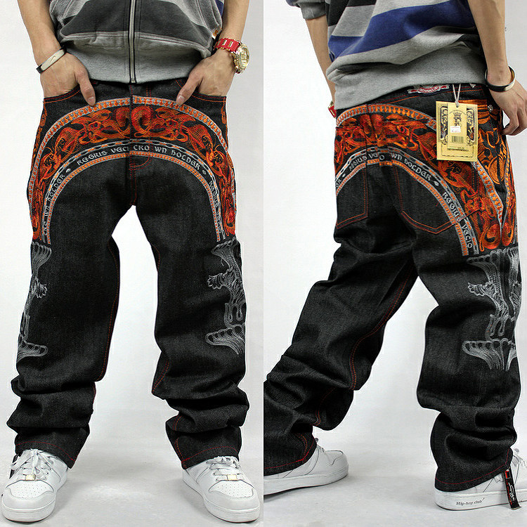 China Style Mid Mens Jeans 2018 Loose Hip Hop Jeans Men Printed Hip-hop Denim Trousers Cotton Primaries Influx Of Personalized euramerican style baggy hip hop men jeans widened increase skateboard pants comfortable mid waist casual mens streetwear jeans