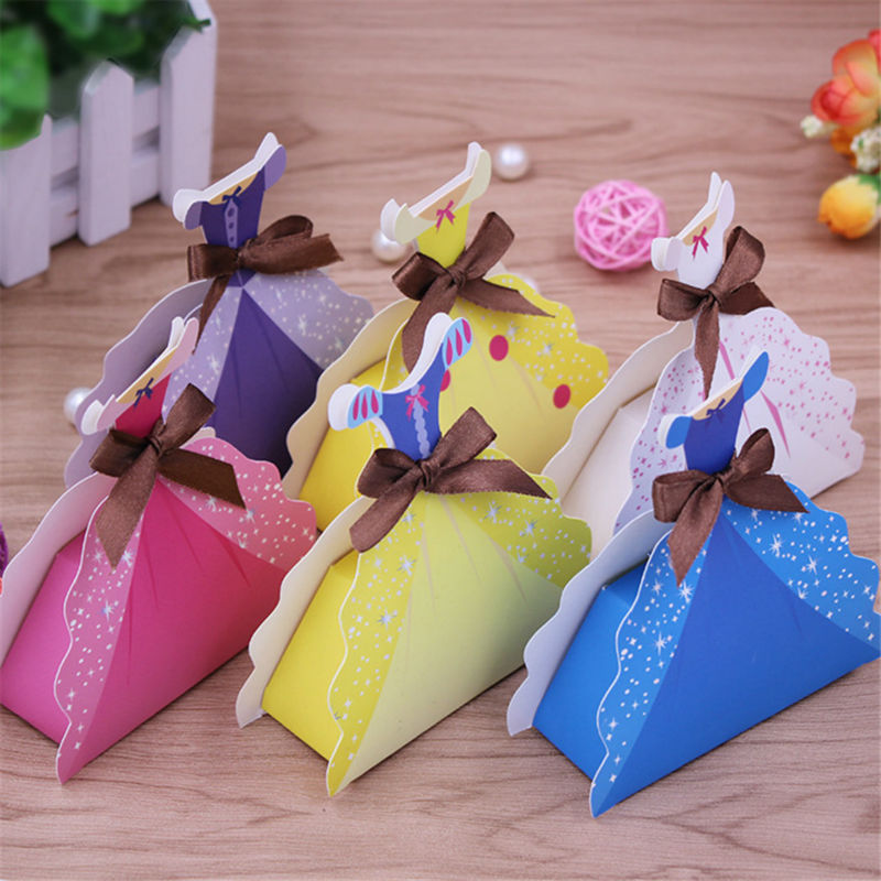 50pcs Wedding Dress Design Candy Box Unique Skirt Sweet