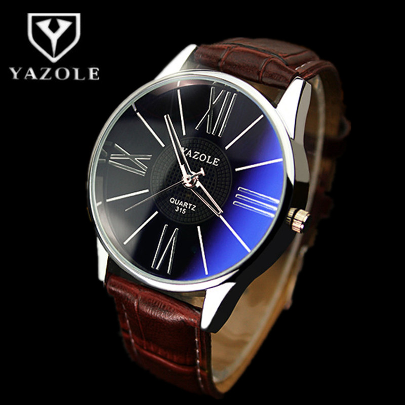 Fashion YAZOLE Brand Quartz-Watch Luxury Blue Glass Business Watch Men Waterproof Leather Wristatch Drop Ship Relogio Masculino цены