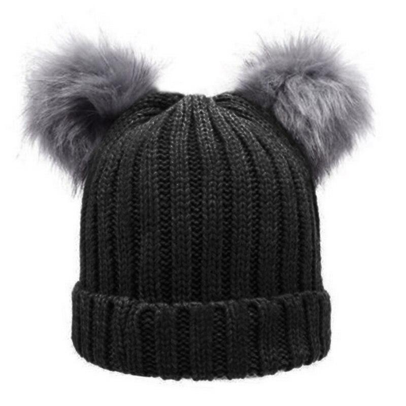 MIOIM Double Faux Fur Pom Pom Beanie Hat Women Warm Knit Skullies Women s  Winter Chunky Knit Bobble Cap Pompom Hats 3 Colors 3 ee8cdc3972