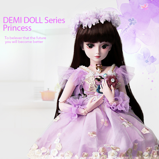 UCanaan 1/3 Girl BJD Doll With Purple Dress 60CM SD Dolls 19 Ball Jointed Body Silicone Reborn Doll Children DIY Toys MAX Gifts