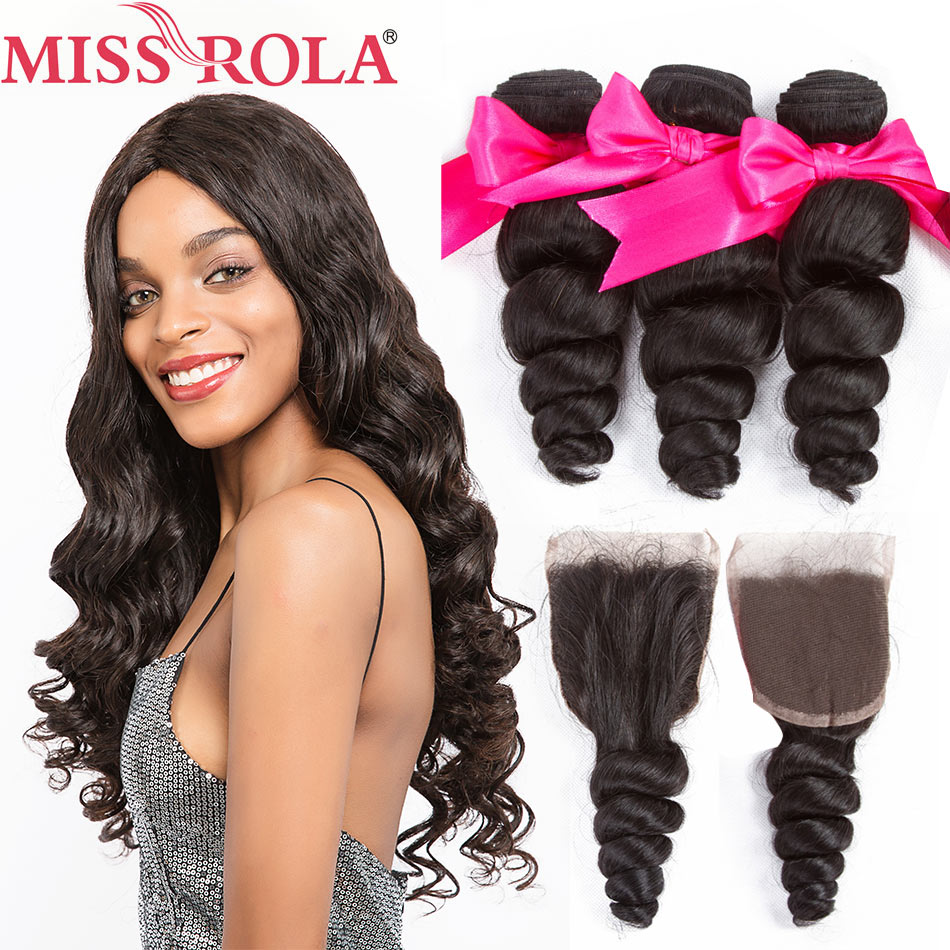 Miss Rola Hair Malaysian Loose Wave 3 Bundles With Closure 100 Human Hair Bundles Malaysian Hair