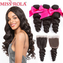 Miss Rola Hair Malaysian Loose Wave 3 Bundles With Closure 100% Human Hair Bundles Malaysian Hair With 4*4 Lace Closure Non-Remy(China)