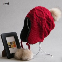 High Quality Fashion New Children Design Caps Twist Pattern Winter Outdoor Skiing Knitted Warm Plush Pompon
