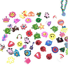 30pcs DIY Cartoon Colorful Animal Flower Beads Pendants Toy for DIY Colorful Loom Rubber Band Bracelet Making Kit Random Style(China)