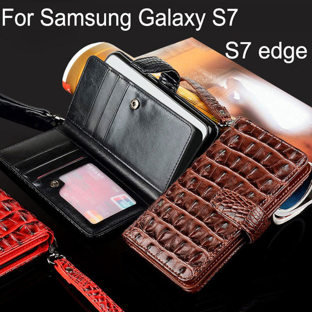 bdaa241b294 Coque para samsung galaxy s7 edge caso de lujo cocodrilo cuero serpiente Flip  funda negocios estilo la carpeta del teléfono