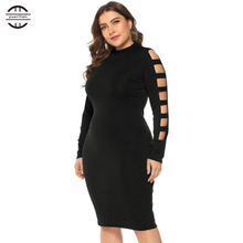 2019 New Spring Big Size Sexy Bandage Women Hollow Out Bodycon Dress Elegant O Neck Long Sleeve  Dresses Woman Party Night цена и фото