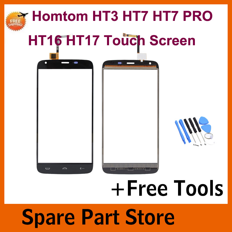 Angcoucoux Tested For Homtom HT3 HT7 Pro HT16 HT17 HT 37 Screen Digitizer Front Glass Panel Sensor Spare Parts +Free Tool