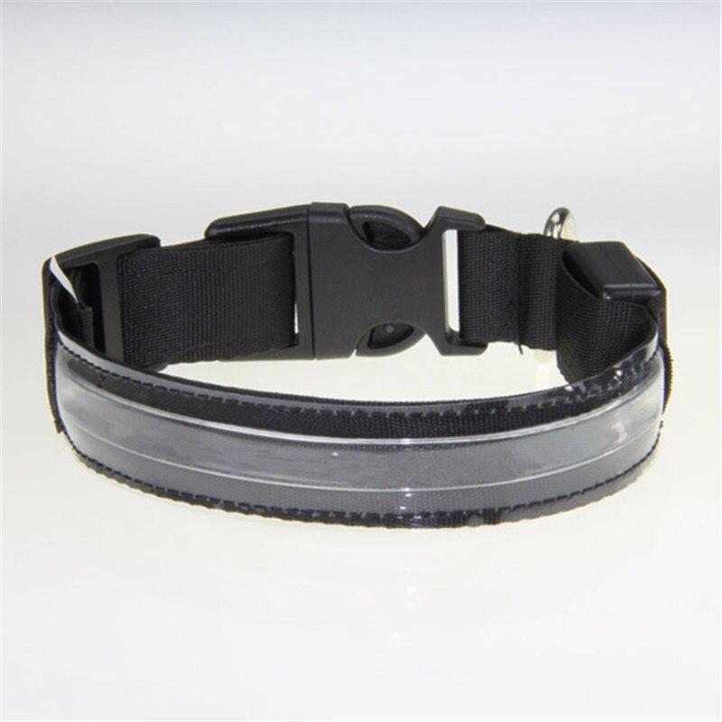 Hot 8 Color Pets LED Collars Nylon Collar Transparent Light Up LED Flashing S M L XL