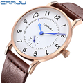 50pcs/lot CRRJU New Top Luxury Watch Men Brand Men's Watches Ultra Thin Leather Strap Quartz Wristwatch Fashion casual watches