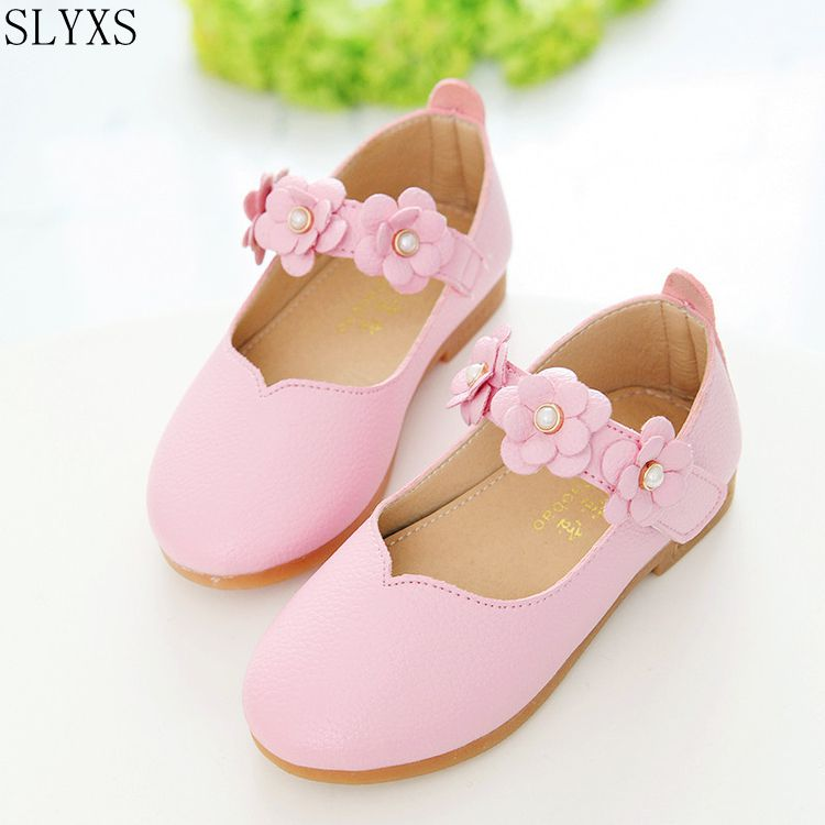 SLYXS Children Shoes Girls 2017 Autumn Fashion Flower Kids Leather Shoes Solid All-match Casual Kids Shoes
