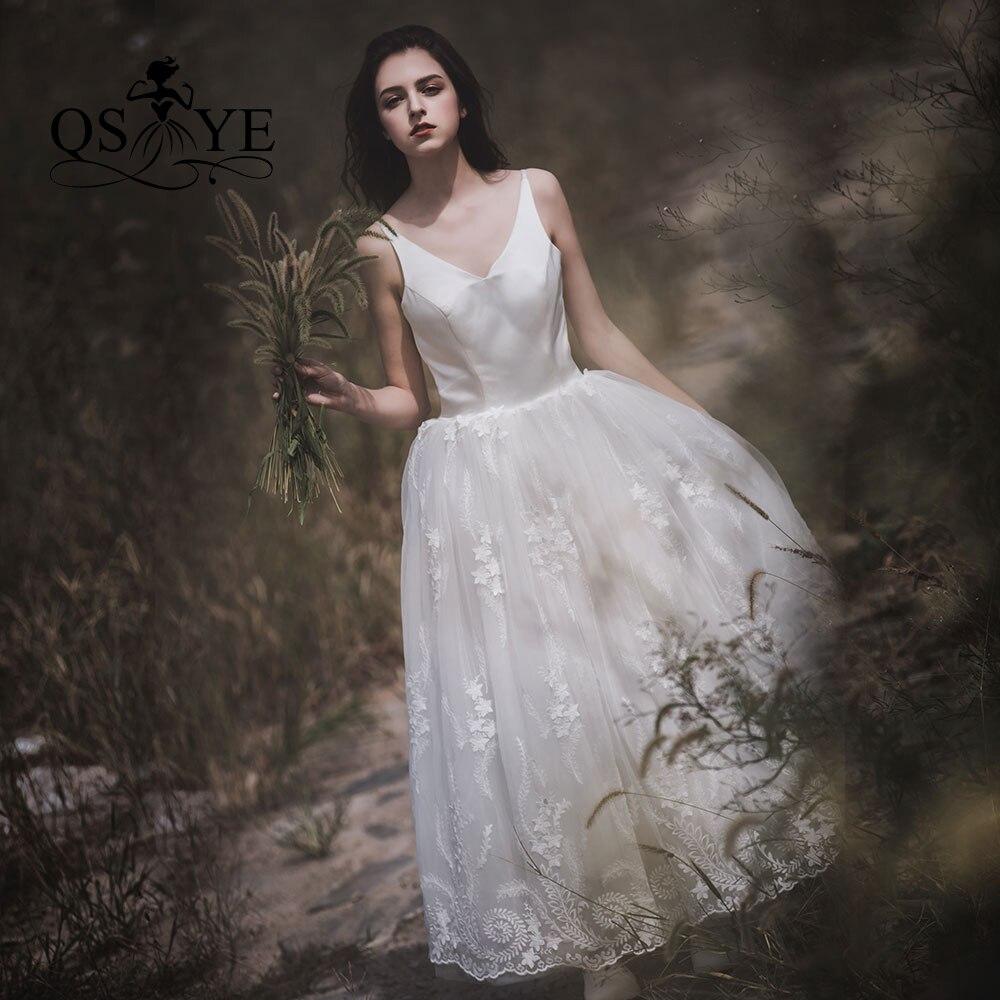 QSYYE 2019 nouveauté 3D fleur dentelle pas cher fée robe de mariée robes de mariée Sexy col en v dos nu Discount femmes jupe d'été
